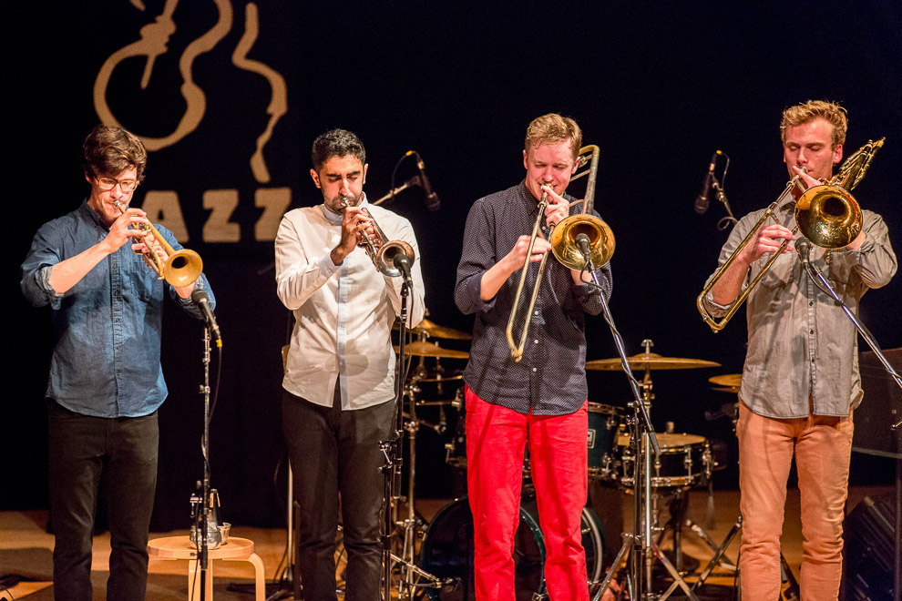 Jazz photographer Daniel Sheehan photographed the jazz horn group the Westerlies in Seattle.