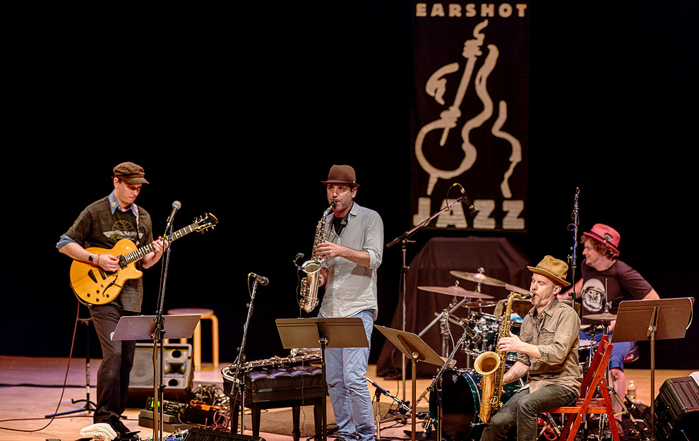 Jazz photographer Daniel Sheehan photographed the jazz group Human Feel in Seattle.