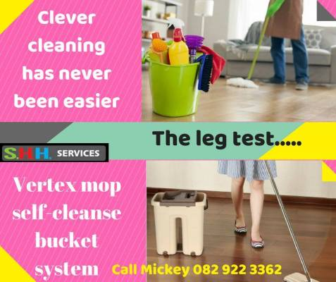 legs of lady cleaning floor with vertex mop, and man cleaning floor with mop
