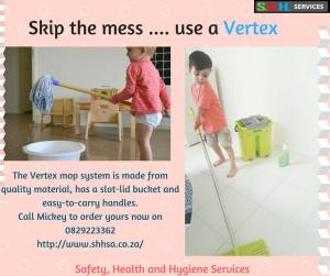 Two little boys cleaning the floor, one using a mop and bucket, the other using the Vertex mop system