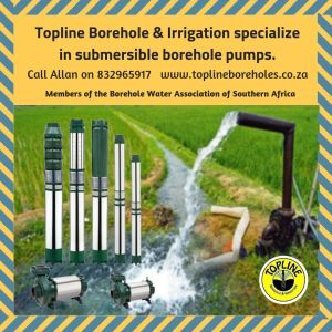 Pamphlet advert for Topline Boreholes showing submersible water pumps at a borehole in the fields