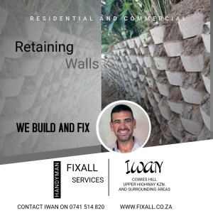 Retaining wall with green bush on top erected by Fixall Services in Westville, Upper Highway kzn