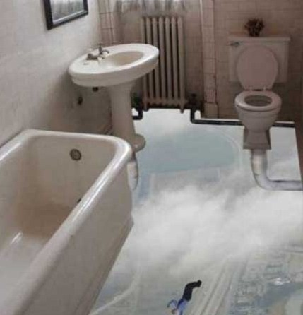 Bathroom Without a Floor Illusion