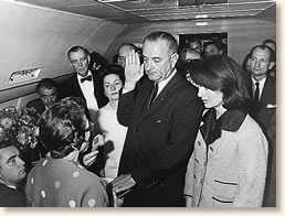 Lyndon Johnson is sworn in as president aboard Air Force One Jackie Kennedy stands at his side 3:38 PM 11/22/63