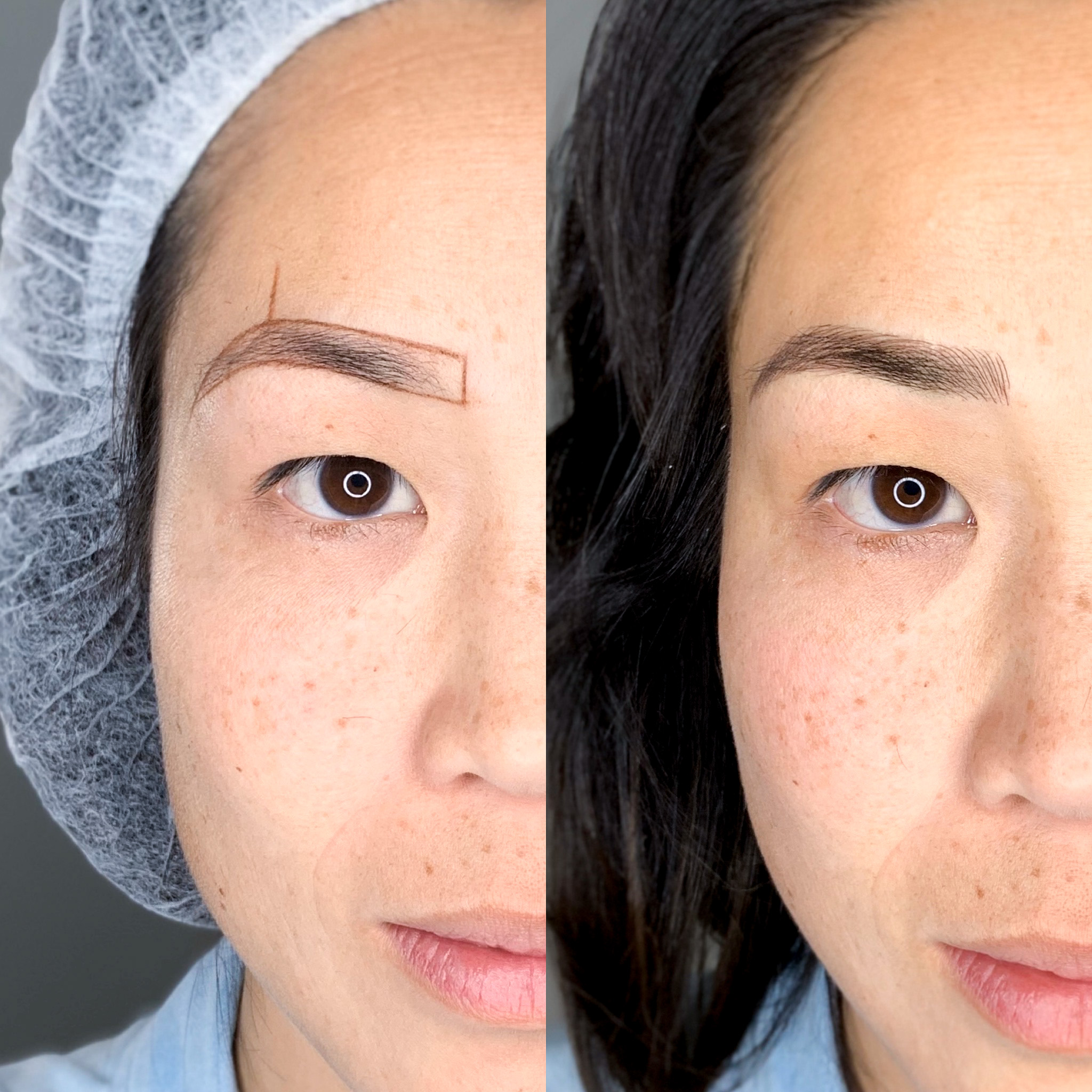 Before and after eyebrow feathering