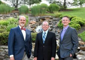 Doctors Patton, Gilliland, and Carusone by Waterfall