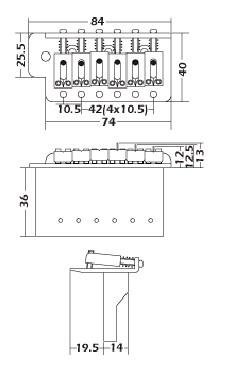 Chrome,Strat Tremolo Gutiar Bridge Tail,105mm string space,with half slope block,SB001CR