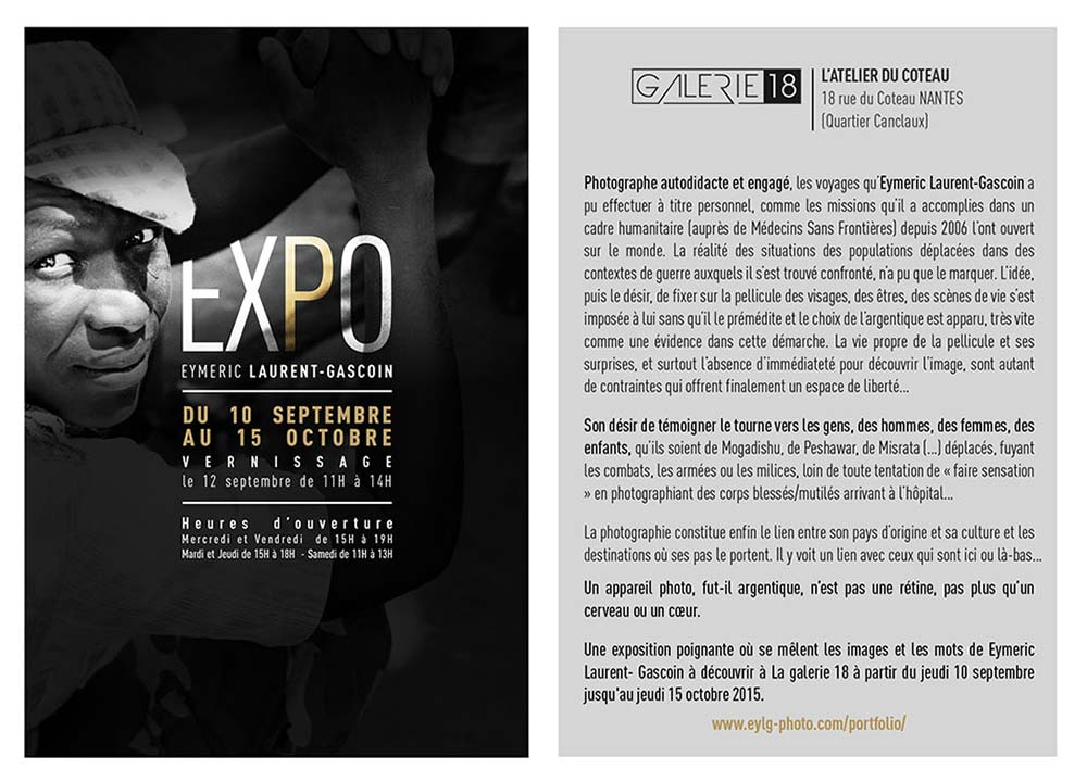 Galerie 18 flyer, Eymeric Laurent-Gascoin Exhibition