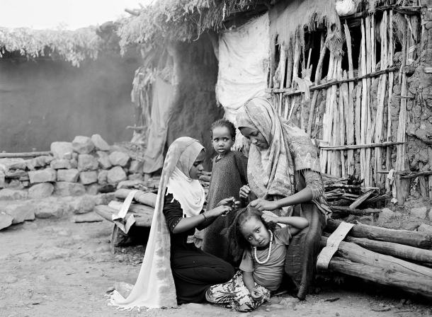 "Dire Sheikh Hussein: family portrait. 4x5"" Black & White Film"