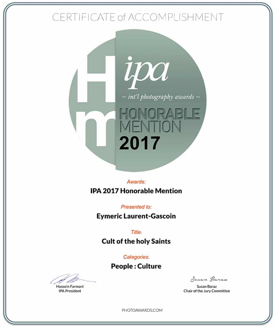 Honorable mention IPA 2017 for Cult of the Holy Saints