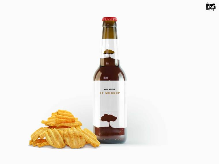 Food Beer Bottle Label Mockup