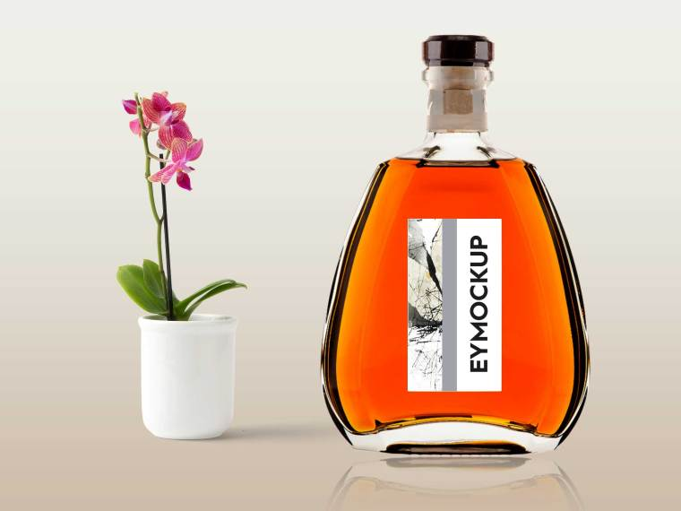 Glass Perfume Bottle Label Mockup
