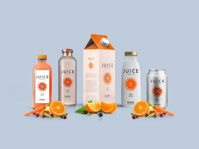 Complete Juice Packaging Label Mock-up