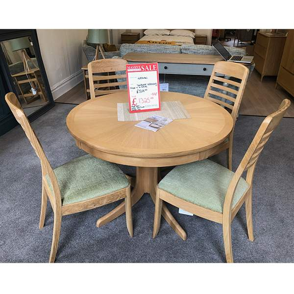 Sunburst Extending Table With 4 Chairs From Eyres Home Chesterfield