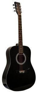41 Inch Full Size Black Handcrafted Steel String Dreadnought Acoustic Guitar & DirectlyCheap(TM) Translucent Blue Medium Guitar Pick (PRO-1 Series)