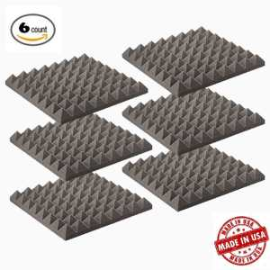 6 Pack - Acoustic Foam Sound Absorption Pyramid Studio Treatment Wall Panels, 2 X 12 X 12