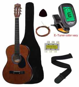 Crescent MG38-CF 38 Acoustic Guitar Starter Package, COFFEE (Includes CrescentTM Digital E-Tuner)