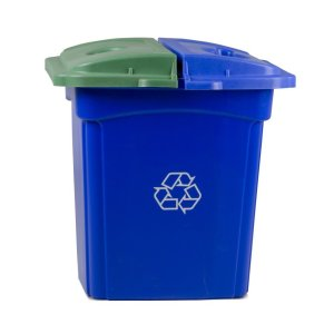 Continental 656-1, Colossus Blue Recycling Station Receptacle with 4 Color-Coded Hinged Lids, 56-Gallon Capacity, 26-12 Length x 30 Width x 36-12 Height (Case of 1)