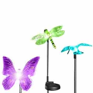 Esky Solar Powered Hummingbird, Butterfly & Dragonfly Garden Stake Light with Color Changing LEDs