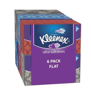 Kleenex Ultra Soft & Strong Facial Tissues, Medium Count Flat, 170 ct, 6 Pack