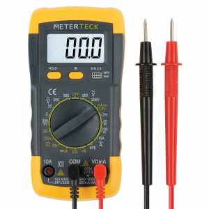Meterteck Digital Multimeter (DMM) - Voltmeter, Ohmmeter, Ammeter - 1 Year Guarantee - 2 Test Leads