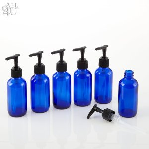 Pack of 6 - 4oz Cobalt Glass Boston Round Bottles with Pump Tops