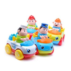 D-Mcark Occuption Car Driver Figure Pull Back and Baby Push Friction Powered Car Toys for Kids Police Doctor Fireman Engineer 4 Sets