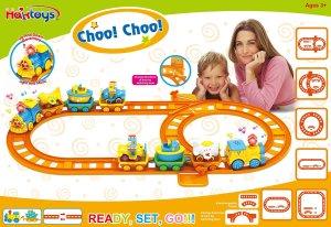 Haktoys Choo! Choo! Eduational Connect-N-Play Railway Wheelies Fun Train Playset with Lights and Music