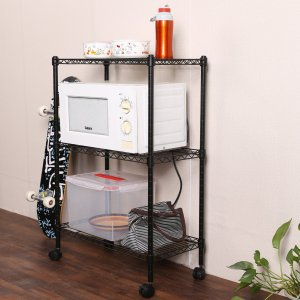 Homdox 3-Tire Heavy Duty Shelves Storage Organizer Wire Shelving Unit Rolling Cart Rack with Wheels