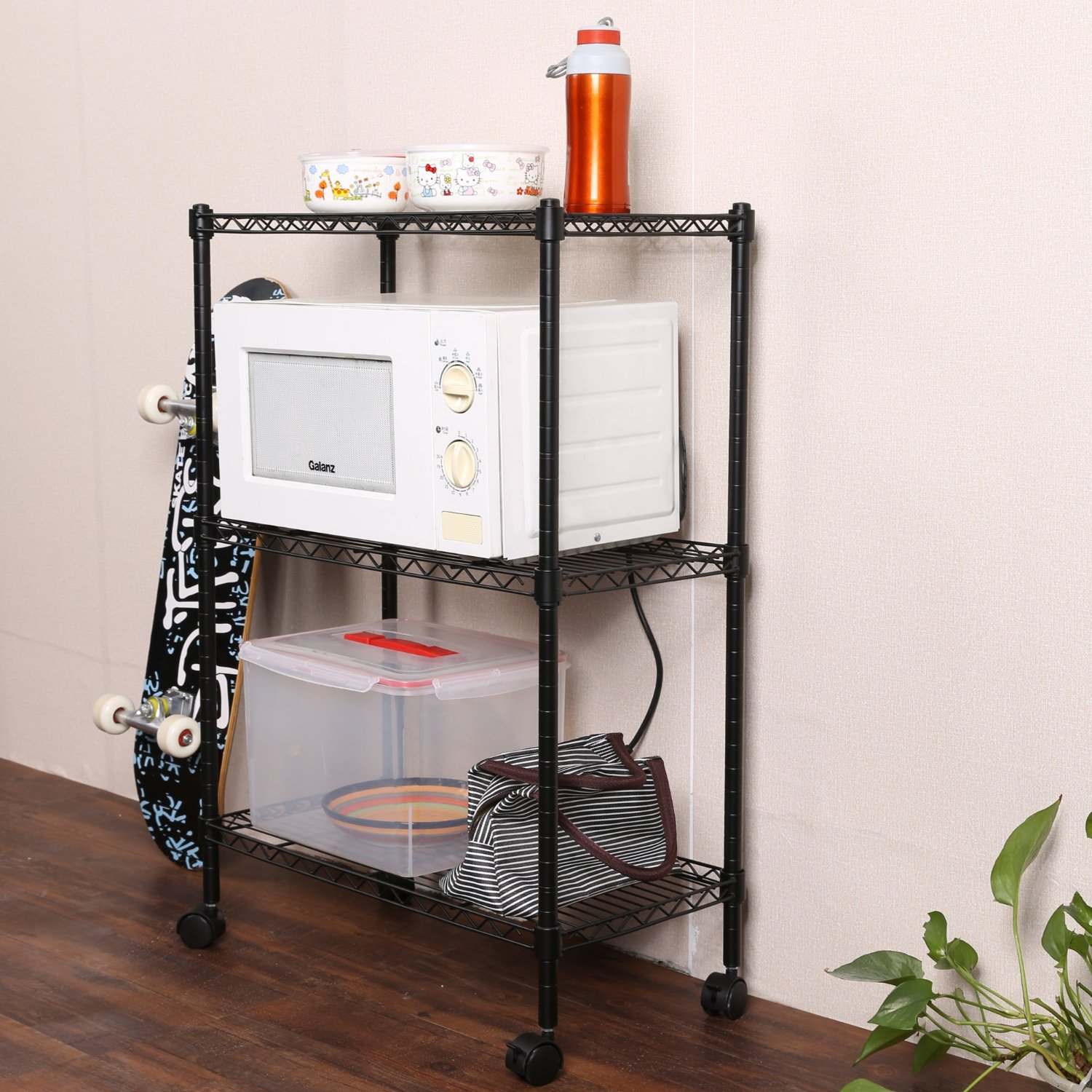 homdox 3tire heavy duty shelves storage organizer wire shelving unit rolling cart rack with