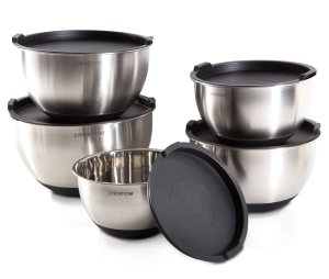 PriorityChef 5 Piece Mixing Bowls With Lids, Large 5 Quart Capacity