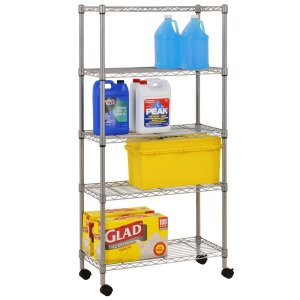 Sandusky MWS301460 5-Tier Mobile Wire Shelving Unit with 2 Nylon Casters