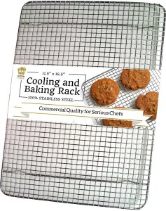Ultra Cuisine 100% Stainless Steel Wire Cooling Rack fits Half Sheet Baking Pans