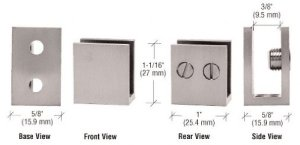 C.R. LAURENCE EH35 CRL Brushed Nickel Large Set Screw Clamp for 14 to 516 Glass