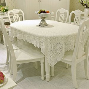 FADFAY Beautiful Solid White Lace Embroidered Tablecloth Rectangular Tablecloths Tea Table Cover Tablecloths for Home Weddings