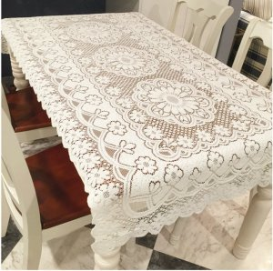 FashionMall White Floral Lace Reusable Tablecloth, 55 X 78, Rectangle (55 X 78)