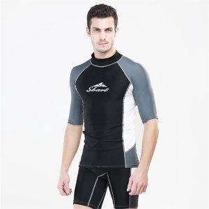Fortuning's JDS® Men's water sport equipment short sleeve crew rash guard swimwear
