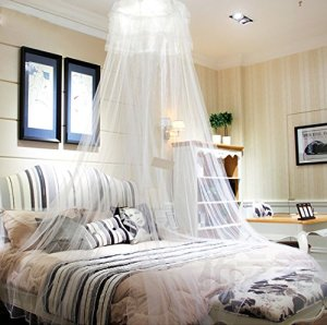 HIG mosquito net Bed Canopy - Lace Dome Netting Bedding White