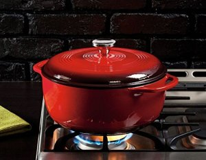 Lodge Color EC6D43 Enameled Cast Iron Dutch Oven, Island Spice Red, 6-Quart