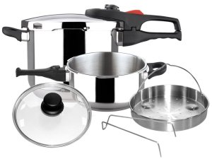 Magefesa 01OPPRAPL47 6-Piece Practika Plus Stainless Steel Pressure Cooker Set, 4 and 6-Quart, Silver