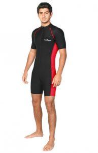 Men Sun Protective Sunsuit Swimwear Dive Snorkel Surf Swimsuit UPF50+ Black Red EcoStinger