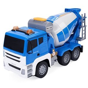 Safstar 118 5CH Remote Control Cement Mixer Truck Construction Vehicle with Sound and Lights for Kids Toy
