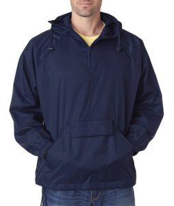 UltraClub 8925 Men's Solid 14-Zip Hooded Pullover Pack-Away Coat