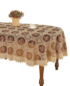 Vintage Burgundy Floral Lace Oval Linen Tablecloth Embroidered Pansies Flower Maroon Translucent Gauze (oval 6084 inch)