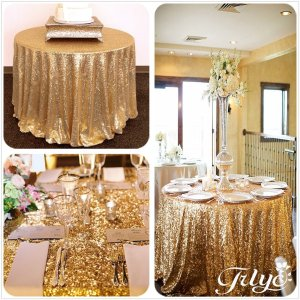 90 Round Sparkly gold Sequin Table Cloth Sequin Table Cloth,Cake Sequin Tablecloths, Sequin Linens for Wedding