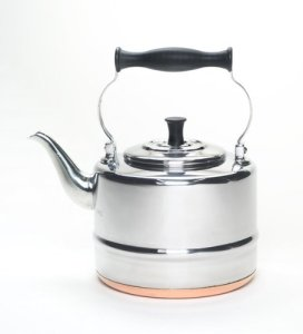 BonJour Tea Stainless Steel and Copper-Base Gooseneck Teapot  Teakettle, 2-Quart