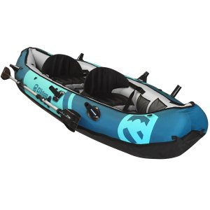 Elkton Outdoors 10' Foot Inflatable Tear Resistant Fishing Kayak With Double Sided Oars, Rod Holders, Foot Pump & Repair Kit