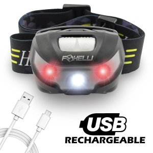 Foxelli USB Rechargeable Headlamp Flashlight