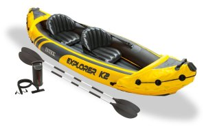 Intex Explorer K2 2-Person Inflatable Kayak + Aluminum Oars And Pump 68307EP