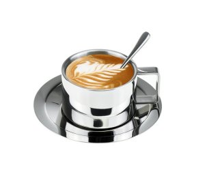 Lastest Double Wall Stainless Steel Coffee Cup Set Espresso Cup Cappuccino Cups Coffee Mug with Spoon and Saucer Fit for 6 OZ or 8 Oz